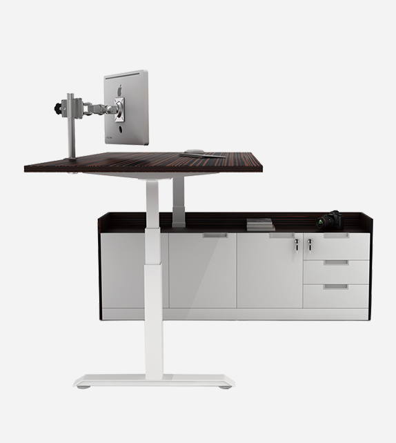 Executive Standing Desk with side cabinet