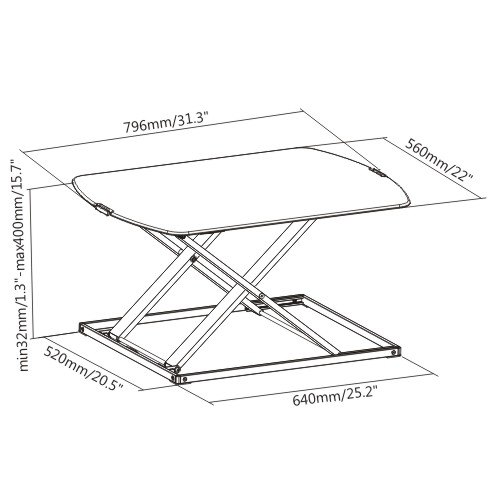 Ultra Thin Sit-Stand Desk Converters