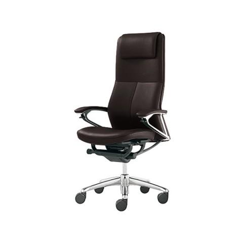 Okamura Legender Full Leather Extra High Back Chair